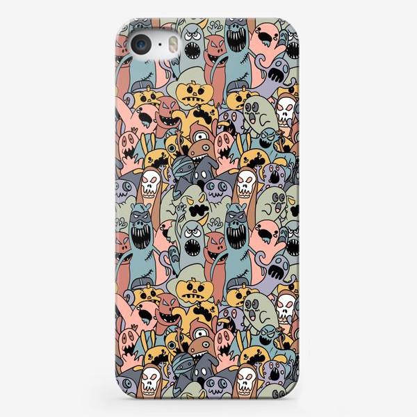 Чехол iPhone «Хэллоуин, монстры и призраки, паттерн»