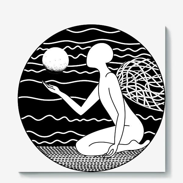 Холст «Луна и ангел»