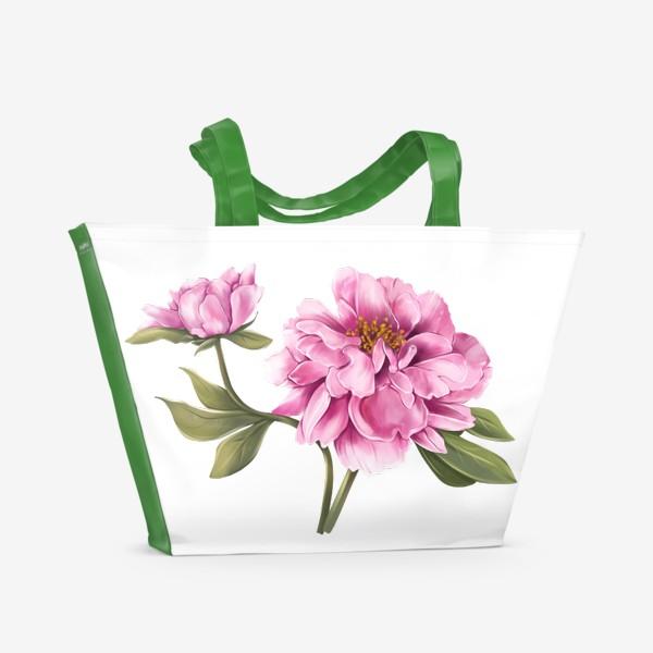 Пляжная сумка «Нежный пион»