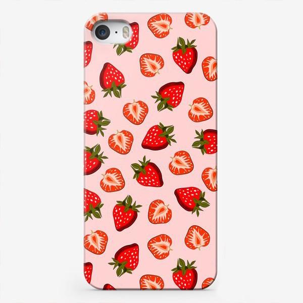 Чехол iPhone «Паттерн клубника»