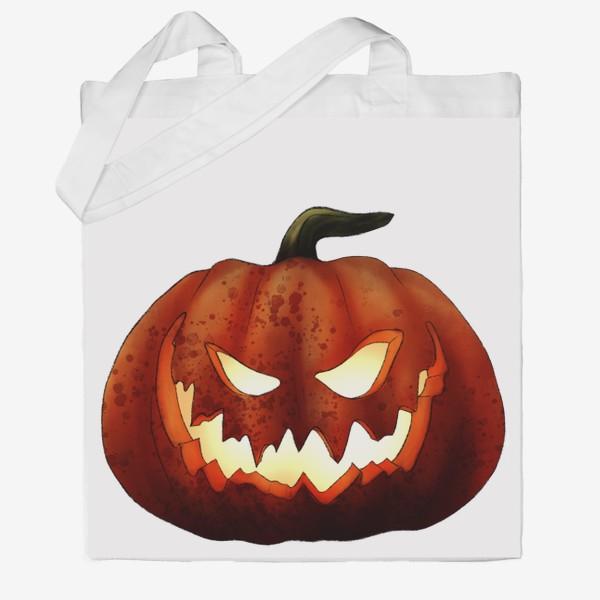 Сумка хб «Хэллоуин, жуткая тыква»