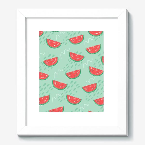 Картина «Паттерн с кусочками арбуза на абстрактном фоне»