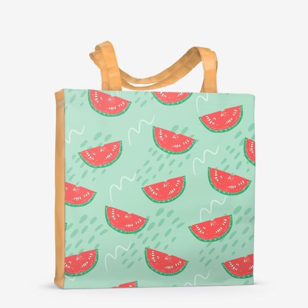 Сумка-шоппер «Паттерн с кусочками арбуза на абстрактном фоне»