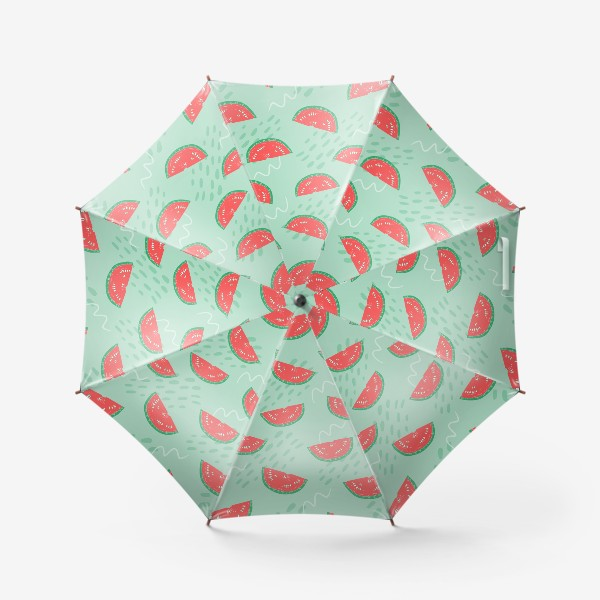 Зонт «Паттерн с кусочками арбуза на абстрактном фоне»