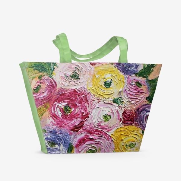 Пляжная сумка «Букет ранункулисов»