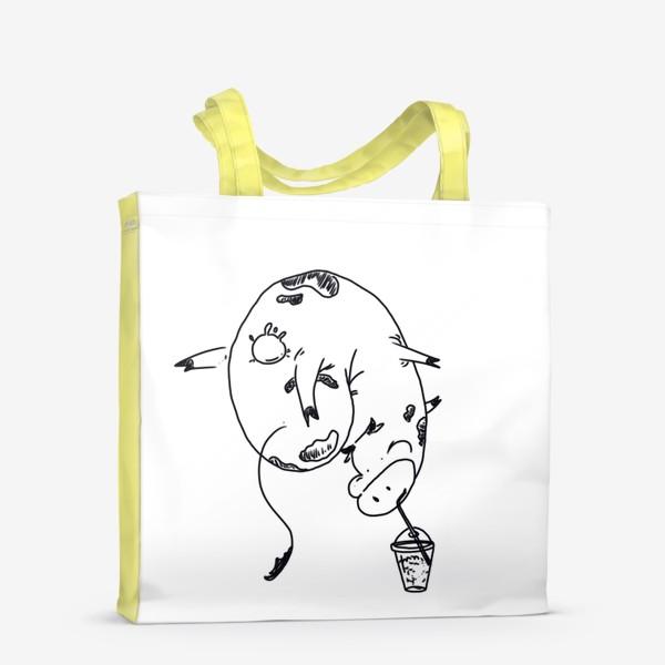 Сумка-шоппер «Корова пьет молочный коктейль. Непереносимость лактозы»