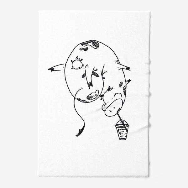 Полотенце «Корова пьет молочный коктейль. Непереносимость лактозы»