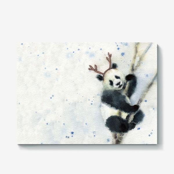 Холст «Новогодняя панда»