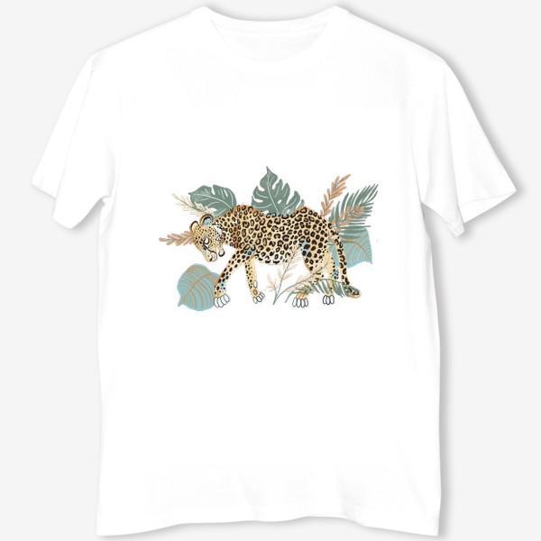 Футболка «Леопард в растениях»
