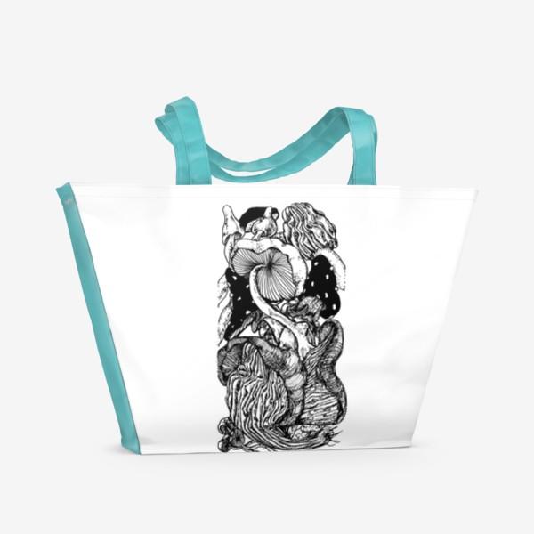 Пляжная сумка «Грибная тема »