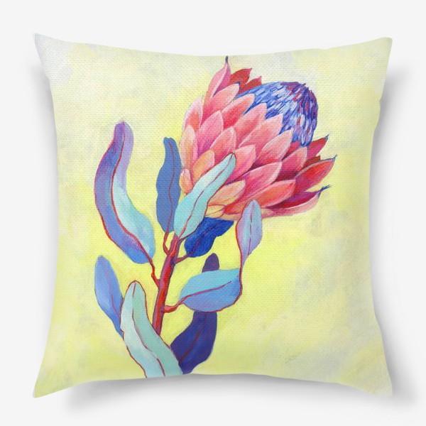 Подушка «Яркий цветок протея»