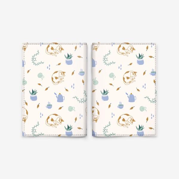 Обложка для паспорта «Нежный осенний паттерн с котиками»