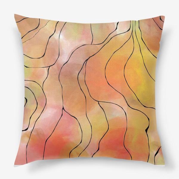 Подушка «Осень. Оранжевая абстракция. Батик»
