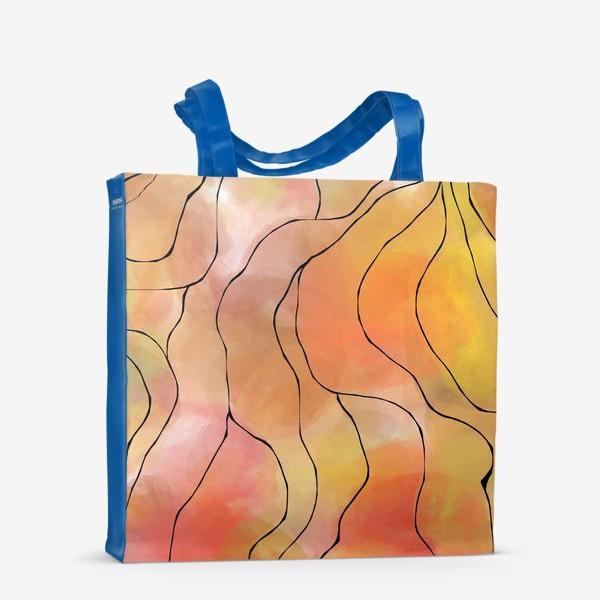 Сумка-шоппер «Осень. Оранжевая абстракция. Батик»