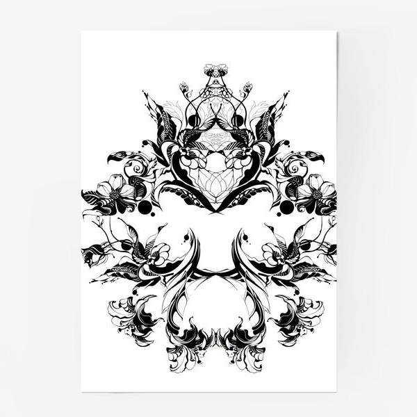 Постер «Абстрактный узор из цветов на белом фоне, венок в стиле модерн»