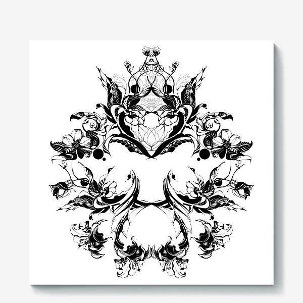 Холст «Абстрактный узор из цветов на белом фоне, венок в стиле модерн»
