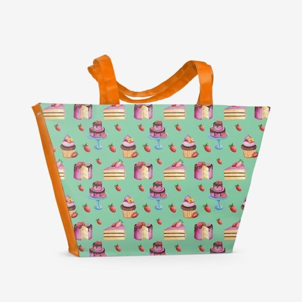 Пляжная сумка «Акварельные тортики на мятном фоне»
