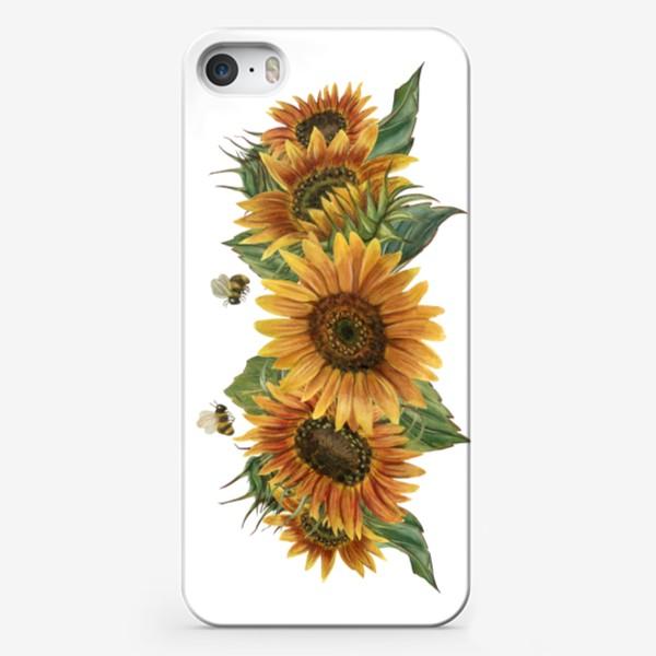 Чехол iPhone «Подсолнухи и пчелы»