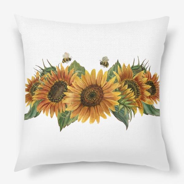 Подушка «Подсолнухи и пчелы»