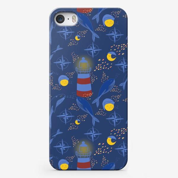 Чехол iPhone «Кит, ночь, маяк»