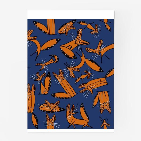 Постер «Фенек, большеухая лисица, паттерн»