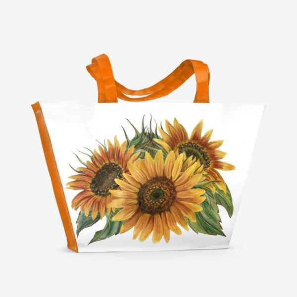 Пляжная сумка «Букет подсолнухов»