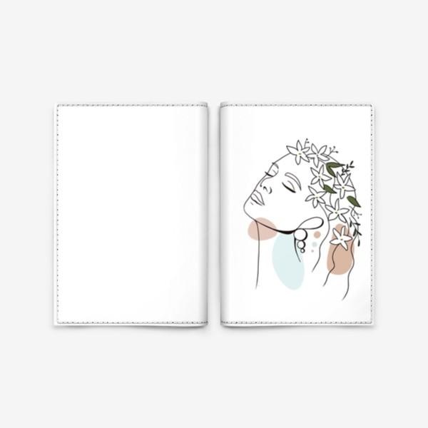 Обложка для паспорта «Девушка с жасмином абстракция минимализм »
