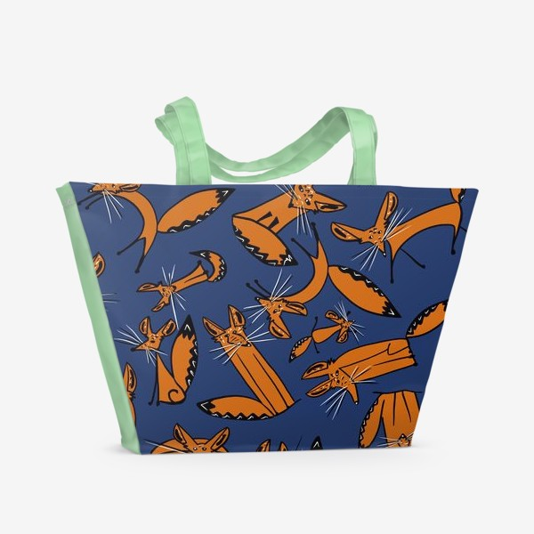 Пляжная сумка «Фенек, большеухая лисица, паттерн»
