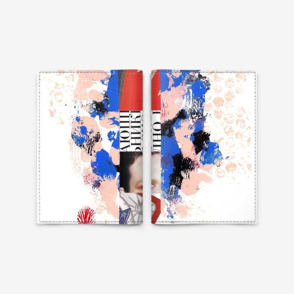Обложка для паспорта «Коллаж. Синий и красный»