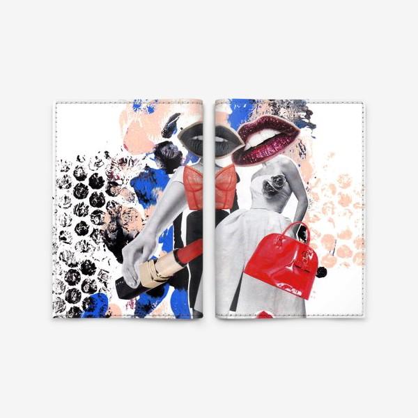 Обложка для паспорта «Мода. Коллаж. Красный и синий»