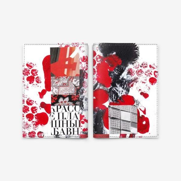 Обложка для паспорта «Абстракция. Коллаж. Красный и черный»