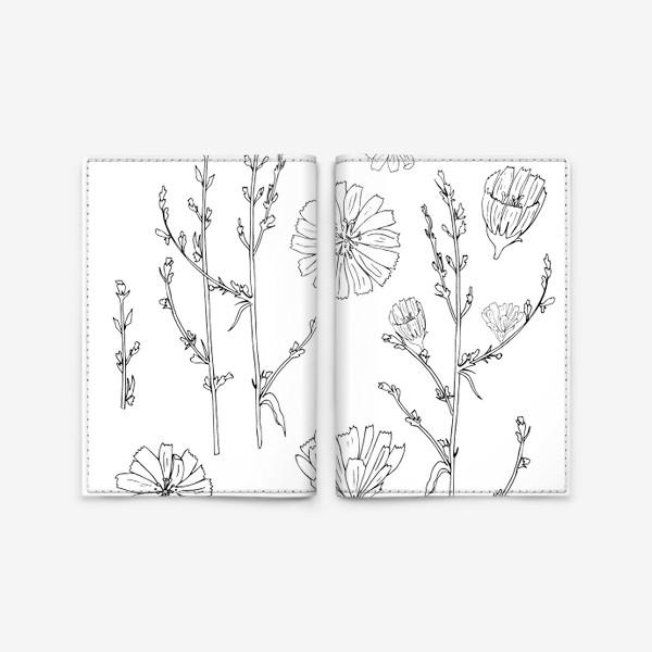 Обложка для паспорта «луговые цветы, цикорий»