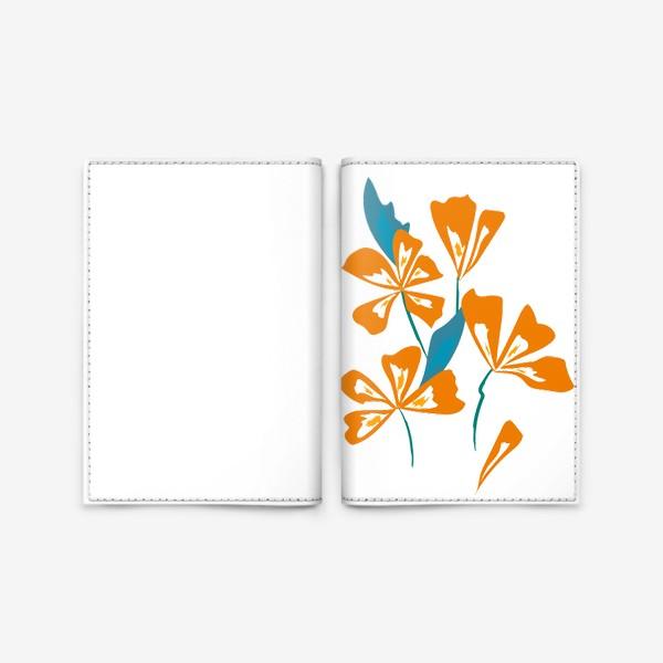 Обложка для паспорта «букет оранжевые цветы»