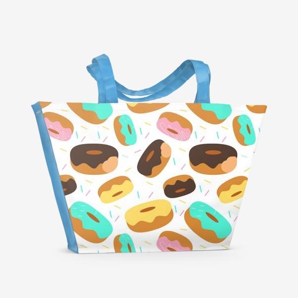 Пляжная сумка «Пончики на белом»