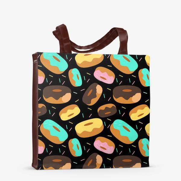 Сумка-шоппер «Пончики на черном»