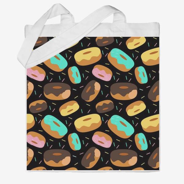 Сумка хб «Пончики на черном»