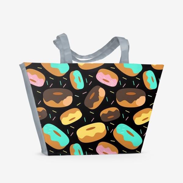 Пляжная сумка «Пончики на черном»