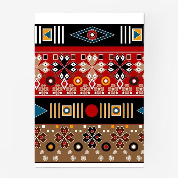 Постер «Африканские мотивы в этническом бохо ретро стиле паттерн»