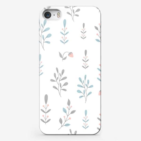 Чехол iPhone «Растительный паттерн в пастельных цветах.»