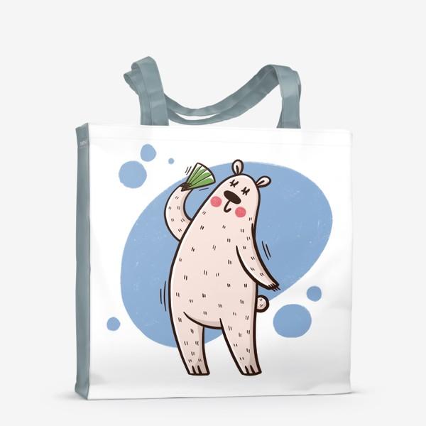 Сумка-шоппер «Милая белая медведица с веером. Лето. Жара»