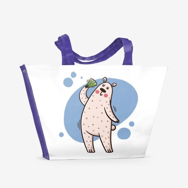 Пляжная сумка «Милая белая медведица с веером. Лето. Жара»