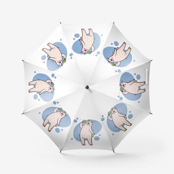 Зонт «Милая белая медведица с веером. Лето. Жара»