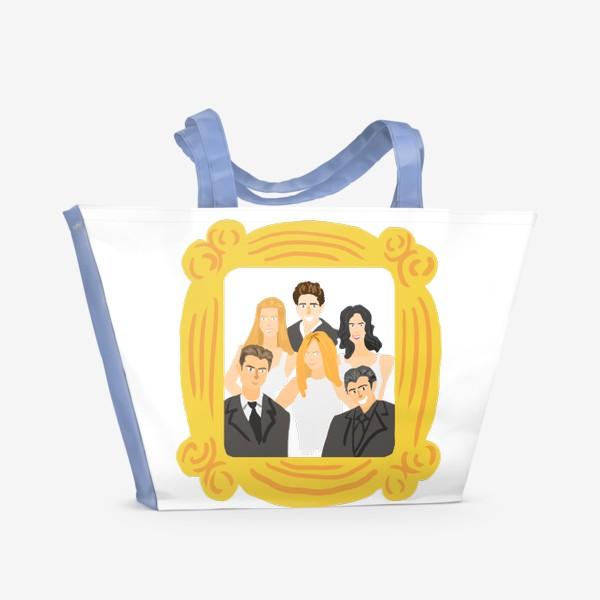 Пляжная сумка «Сериал Друзья: Рейчел, Фиби, Моника, Росс, Чендлер, Джо. Желтая рамка. Портрет. Диджитал. Цвет. Стиль. Люди. Fashion. »