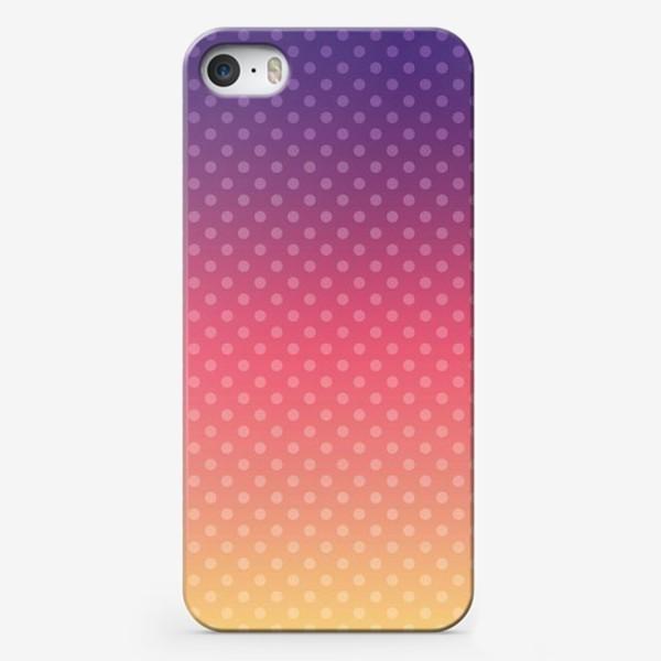 Чехол iPhone «Фиолетово-желтый градиент в горошек»