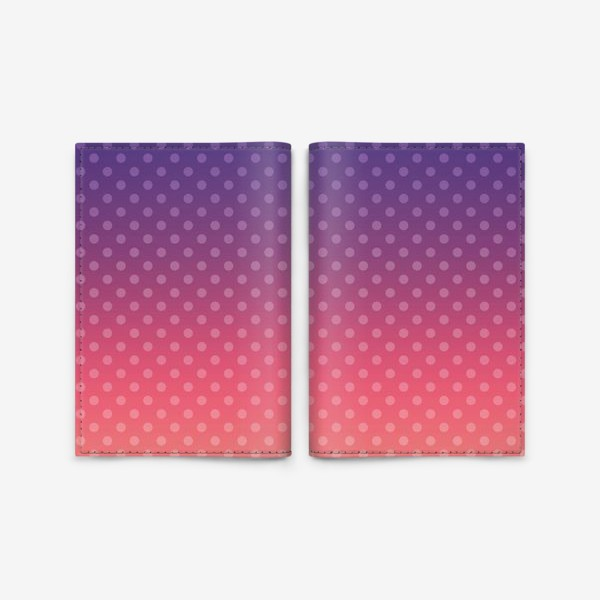 Обложка для паспорта «Фиолетово-желтый градиент в горошек»