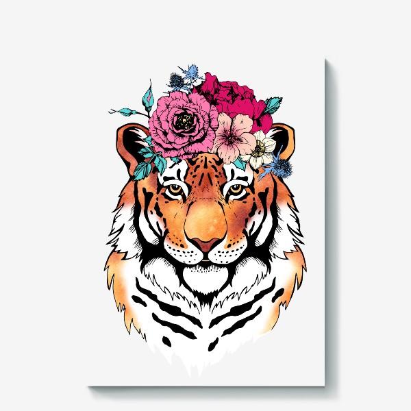 Холст «Тигрица в цветочном венке»
