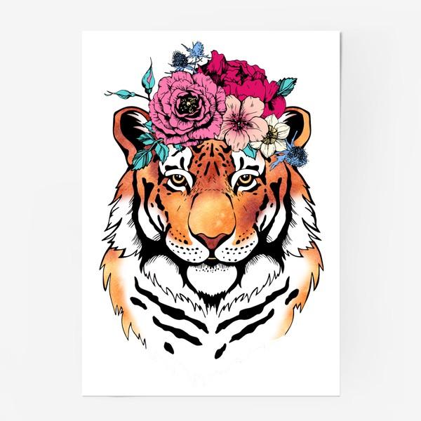Постер «Тигрица в цветочном венке»