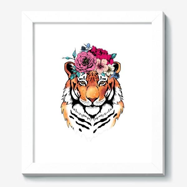 Картина «Тигрица в цветочном венке»