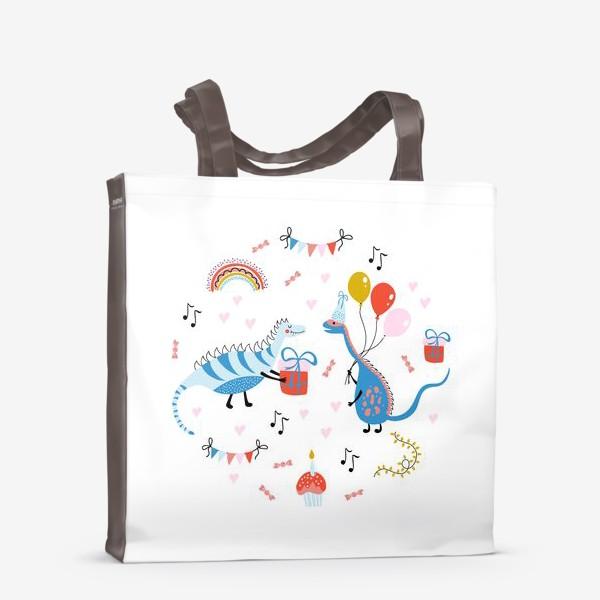 Сумка-шоппер «Праздничная иллюстрация с динозаврами»