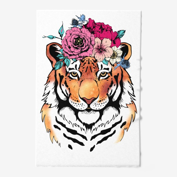 Полотенце «Тигрица в цветочном венке»